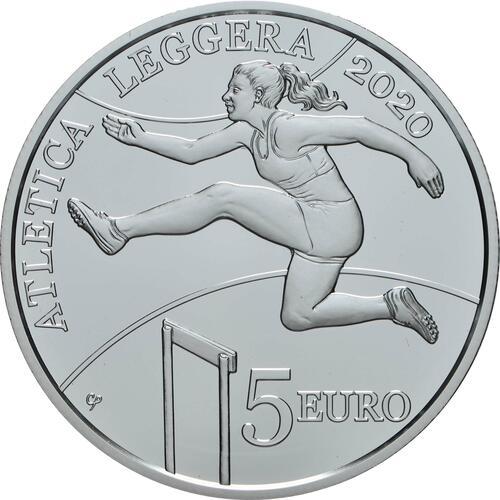 Vorderseite:San Marino : 5 Euro Leichtathletik Spiele der kleinen Europastaaten  2020 PP
