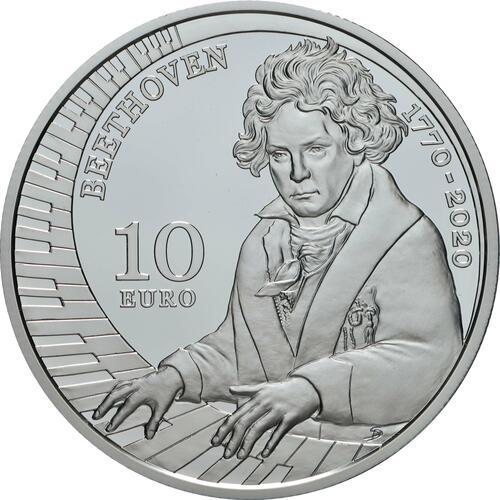 Vorderseite:San Marino : 10 Euro 250. Jahrestag der Geburt von Ludwig van Beethoven  2020 PP