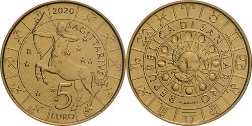 Lieferumfang:San Marino : 5 Euro Schütze  2020 Stgl.
