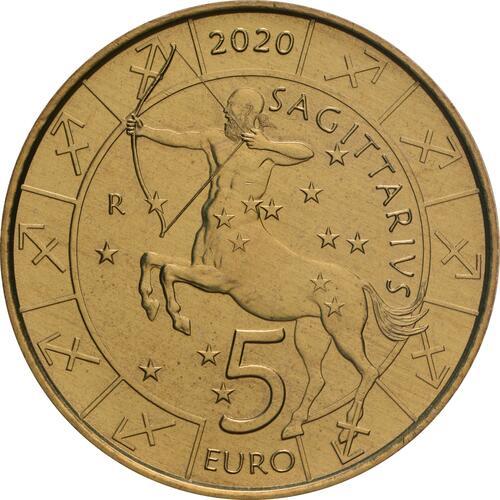 Vorderseite:San Marino : 5 Euro Schütze  2020 Stgl.