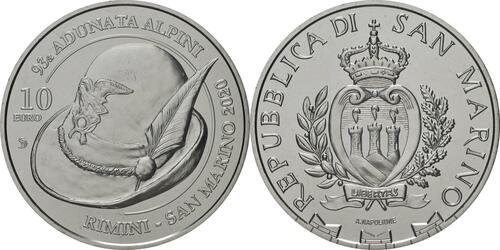 Lieferumfang:San Marino : 10 Euro 93. Appell des nationalen Alpenvereins in Rimini und San Marino  2020 Stgl.