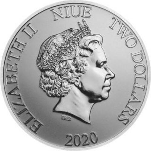 Vorderseite:Niue : 2 Dollar Disney - Mickey & Minnie   1 oz Bullion  2020 Stgl.