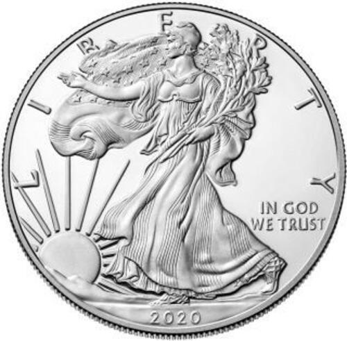 Vorderseite:USA : 1 Dollar Silber Eagle 1 oz  2020 PP