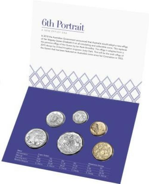 Lieferumfang:Australien : 3,85 Dollar Kursmünzensatz 6. Portrait Queen Elizabeth  2020 Stgl.