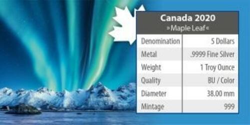 Zertifikat:Kanada : 5 Dollar Maple Leaf - Nordlichter Jasper Nat. Park #1  2020 Stgl.