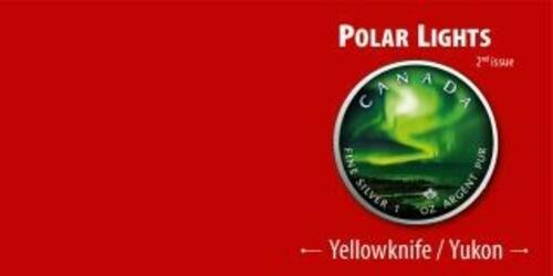 Rückseite:Kanada : 5 Dollar Maple Leaf - Nordlichter Yellowknife Yukon  #2  2020 Stgl.