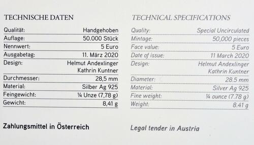 Zertifikat:Österreich : 5 Euro Freunde fürs Leben  2020 Stgl.