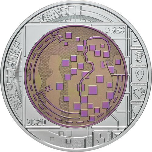 Rückseite:Österreich : 25 Euro Der gläserne Mensch / Big Data  2020 Stgl.