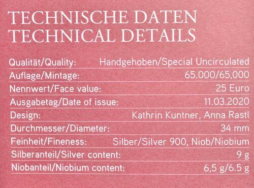 Zertifikat:Österreich : 25 Euro Der gläserne Mensch / Big Data  2020 Stgl.