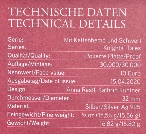 Zertifikat:Österreich : 10 Euro Tapferkeit  2020 PP