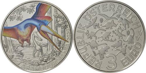 Lieferumfang:Österreich : 3 Euro Arambourgiania philadelphiae - der größte Flugsaurier  2020 Stgl.