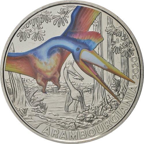 Vorderseite:Österreich : 3 Euro Arambourgiania philadelphiae - der größte Flugsaurier  2020 Stgl.