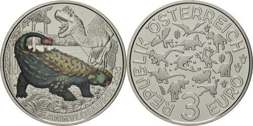 Lieferumfang:Österreich : 3 Euro Ankylosaurus magniventris - der härteste Saurier  2020 Stgl.
