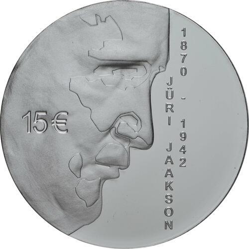 Vorderseite:Estland : 15 Euro 150. Geburtstag Juri Jaakson (Bankier + Politiker)  2020 PP