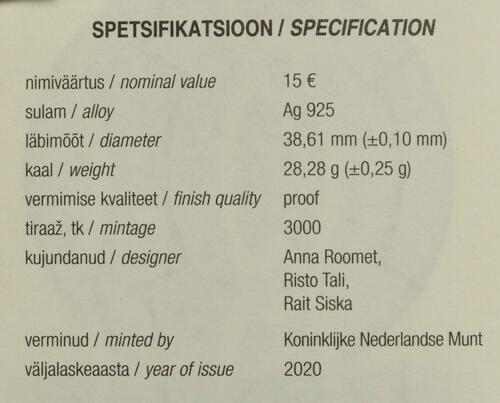 Zertifikat:Estland : 15 Euro 150. Geburtstag Juri Jaakson (Bankier + Politiker)  2020 PP