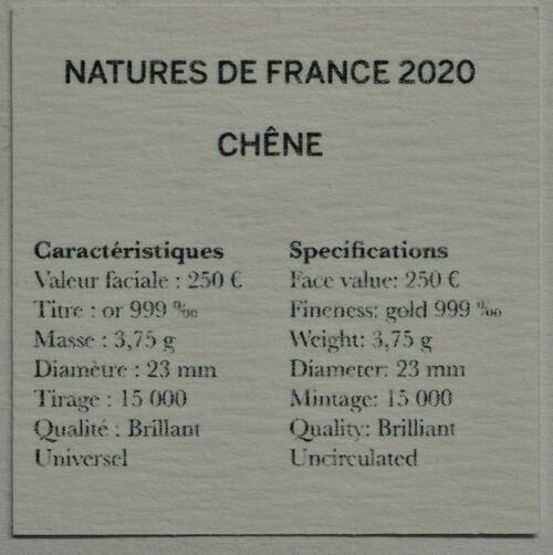 Zertifikat:Frankreich : 250 Euro Eiche  2020 Stgl.