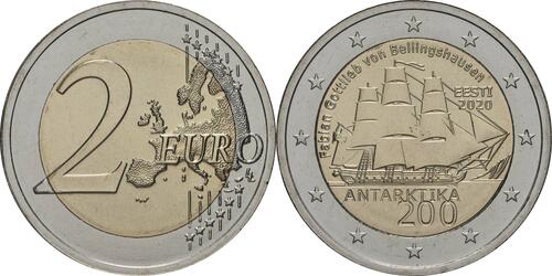 Lieferumfang:Estland : 2 Euro 200. Jahrestag der Entdeckung der Antarktis  2020 bfr