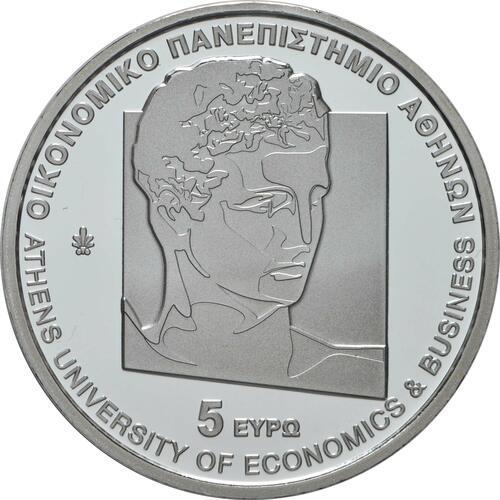 Rückseite:Griechenland : 5 Euro 100 Jahre Universität für Wirtschaft Athen   2020 P/L