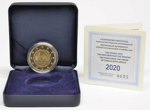 Lieferumfang:Griechenland : 2 Euro 100. Jahrestag der Vereinigung Thrakiens mit Griechenland  2020 PP
