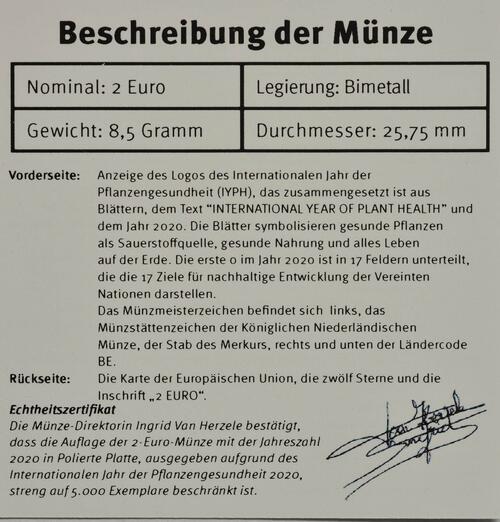Zertifikat:Belgien : 2 Euro Internationales Jahr der Pflanzengesundheit  2020 PP