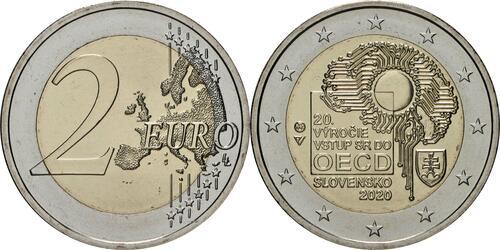Lieferumfang:Slowakei : 2 Euro 20. Jahrestag des Beitritts zur OECD  2020 bfr