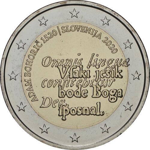 Rückseite:Slowenien : 2 Euro 500. Geburtstag von Adam Bohoric  2020 bfr