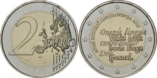 Lieferumfang:Slowenien : 2 Euro 500. Geburtstag von Adam Bohoric  2020 bfr