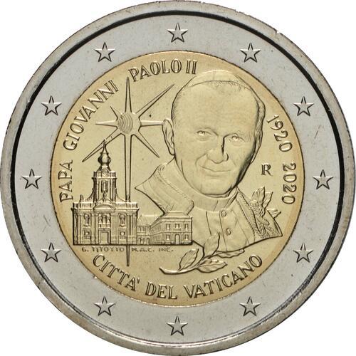 Rückseite:Vatikan : 2 Euro 100. Geburtstag von Johannes Paul II.  2020 Stgl.