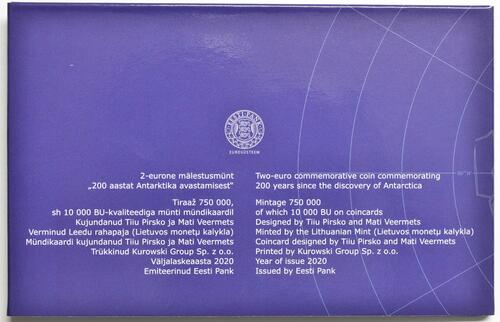 Zertifikat:Estland : 2 Euro 200. Jahrestag der Entdeckung der Antarktis  2020 Stgl.