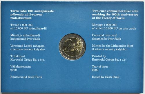 Zertifikat:Estland : 2 Euro 100 Jahre Friedensvertrag von Tartu  2020 bfr