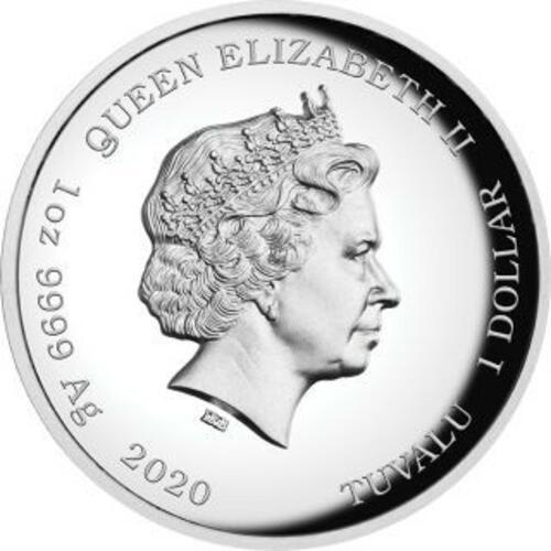 Rückseite:Tuvalu : 1 Dollar James Bond Highrelief  2020 PP