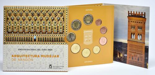 Lieferumfang:Spanien : 5,88 Euro KMS Spanien inkl. 2 Euro Gedenkmünze  2020 Stgl.