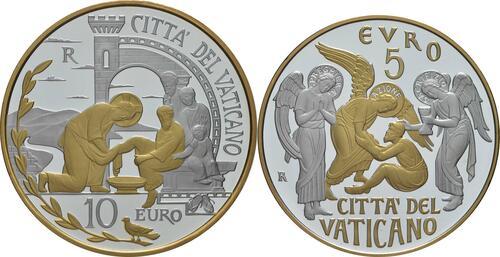 Vorderseite:Vatikan : 5+10 Euro 5 Euro Circolo San Pietro und 10 Euro Weltfriedenstag  2019 PP