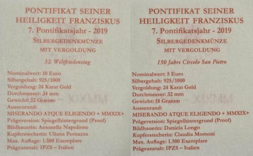 Zertifikat:Vatikan : 5+10 Euro 5 Euro Circolo San Pietro und 10 Euro Weltfriedenstag  2019 PP
