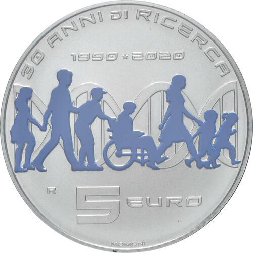Rückseite:Italien : 5 Euro 30. Jahrestag Telethon Stiftung  2020 PP