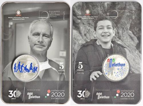 Zertifikat:Italien : 5 Euro 30. Jahrestag Telethon Stiftung  2020 PP