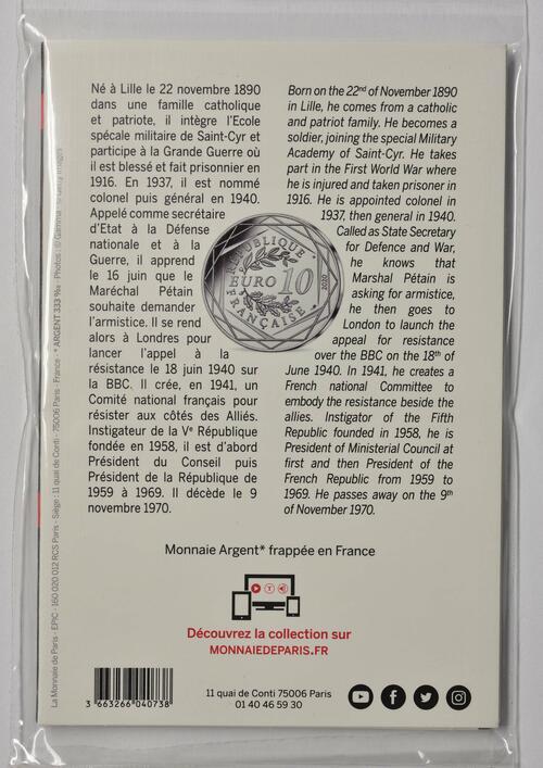 Zertifikat:Frankreich : 10 Euro Charles de Gaulle - Persönlichkeit  2020 Stgl.
