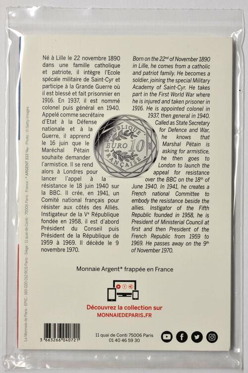 Zertifikat:Frankreich : 10 Euro Charles de Gaulle - Appell am 18. Juni 1940  2020 Stgl.