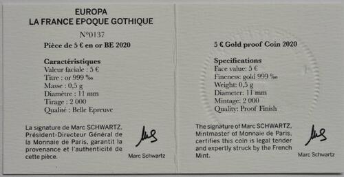 Zertifikat:Frankreich : 5 Euro Gotik  2020 PP