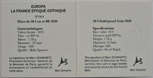 Zertifikat:Frankreich : 50 Euro Gotik  2020 PP