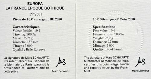 Zertifikat:Frankreich : 10 Euro Gotik  2020 PP