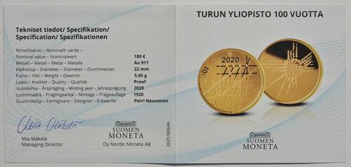 Zertifikat:Finnland : 100 Euro 100 Jahre Universität Turku   2020 PP