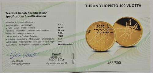 Zertifikat:Finnland : 100 Euro 100 Jahre Universität Turku - nummeriert  2020 PP