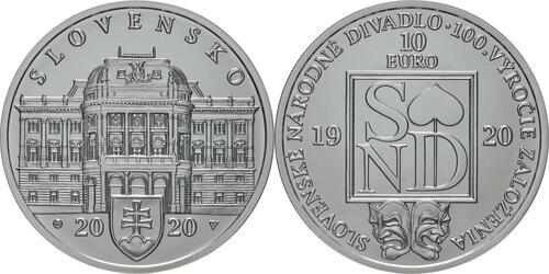 Lieferumfang:Slowakei : 10 Euro 100 Jahre Slowakisches Nationaltheater  2020 Stgl.