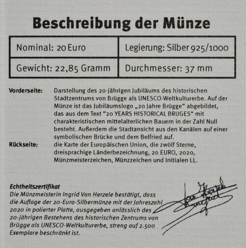 Zertifikat:Belgien : 20 Euro Historisches Stadtzentrum von Brügge  UNESCO  2020 PP