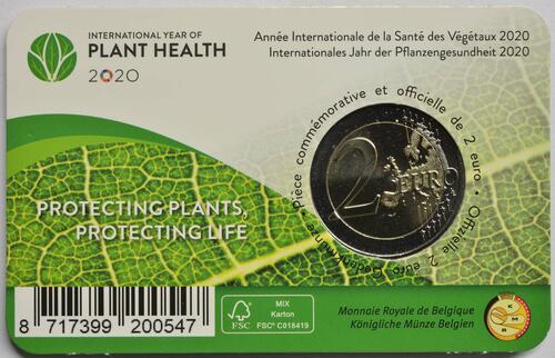 Zertifikat:Belgien : 2 Euro Internationales Jahr der Pflanzengesundheit  2020 Stgl.
