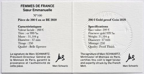 Zertifikat:Frankreich : 200 Euro Schwester Emmanuelle  2020 PP