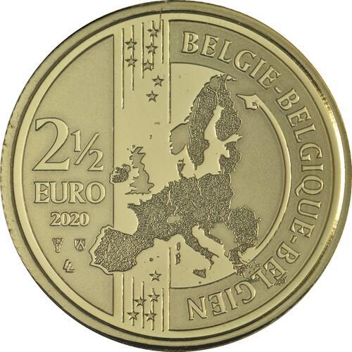 Rückseite:Belgien : 2,5 Euro 100 Jahre Olympische Spiele Antwerpen coloriert  2020 Stgl.