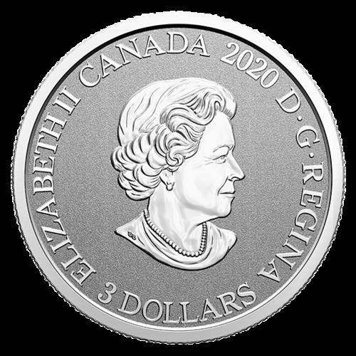 Rückseite:Kanada : 3 Dollar Waldlilie/Ontario-Flor. Wahrzeichen #1  2020 PP