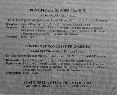 Zertifikat:Vatikan : 3,88 Euro KMS Vatikan  2020 Stgl.